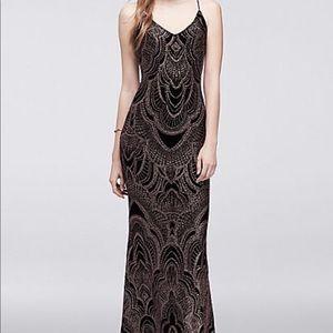 David's bridal black/rose gold sequin dress